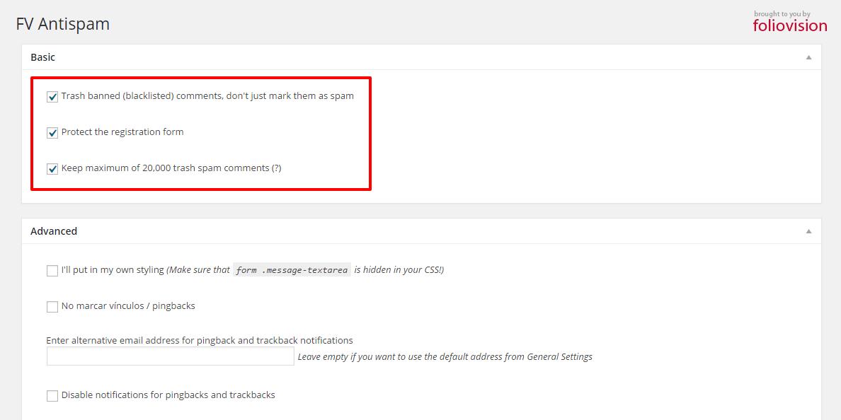Cómo configurar FV Antispam