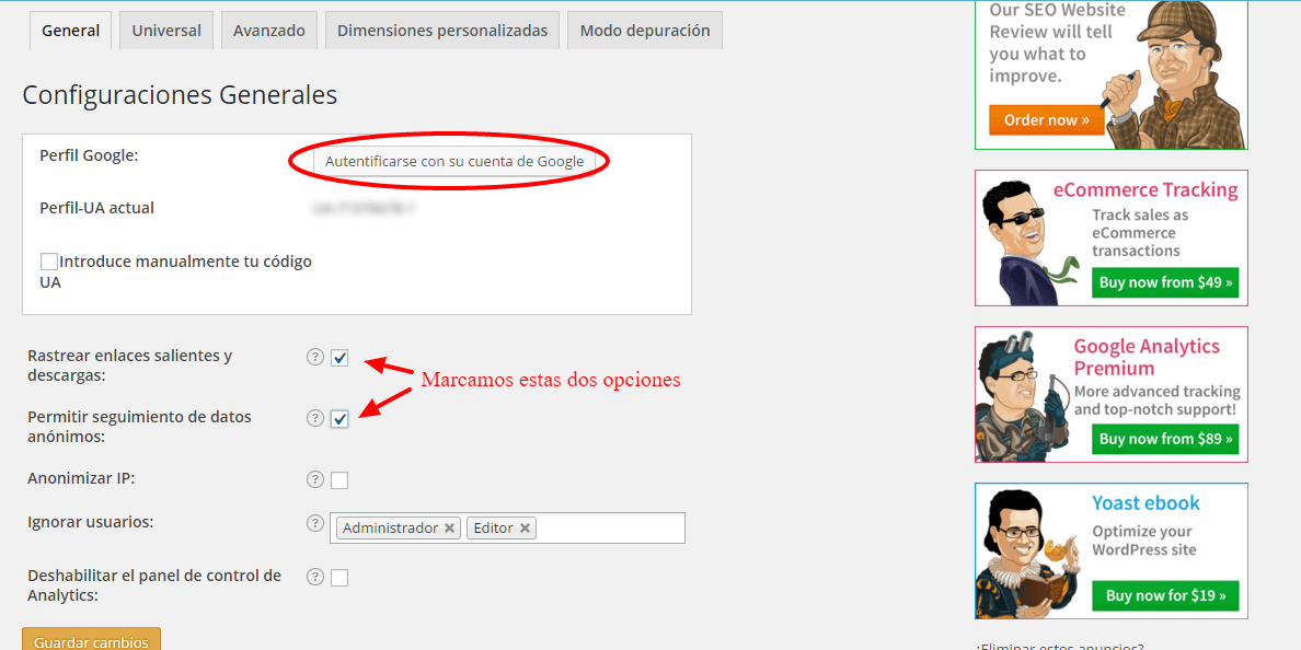 Cómo configurar Google Analytics by Yoast 1