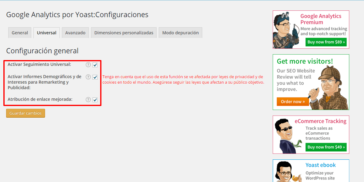 Cómo configurar Google Analytics by Yoast 2