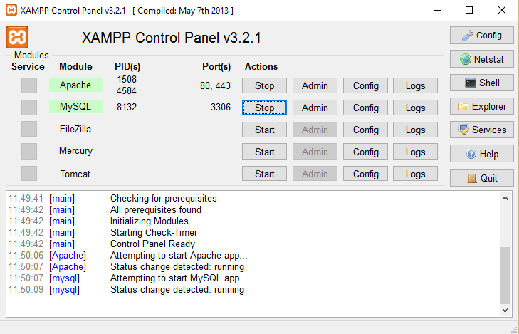 activar xampp