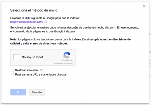 Solicitar indexación Search Console