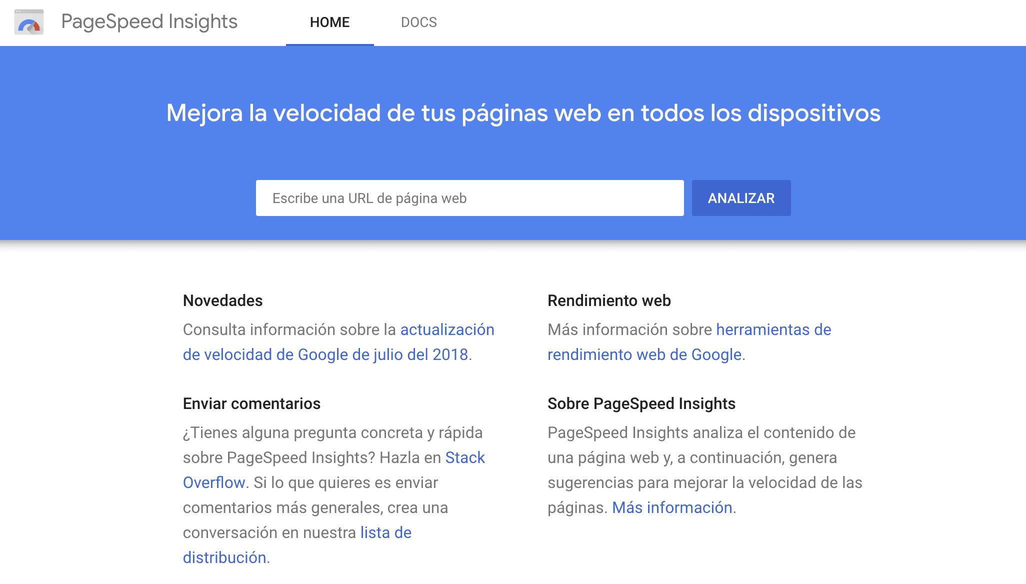 Herramienta WPO PageSpeed Insights